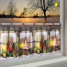 LED Scheibengardine Bistrogardine Adventszeit 45x120 Cm Kerzen Beleuchtet