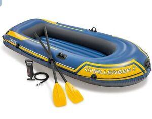 INTEX Challenger 2 Person Dinghy Boat - Inflatable Raft Kayak Set + OARS & PUMP