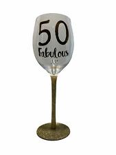Gold Celebration Fabulous 50th Birthday Wine Glass.    -NEW-