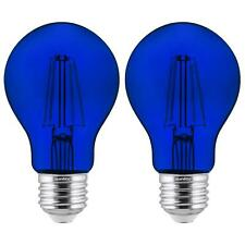 2-Pack Sunlite LED Transparent Blue A19 Filament Bulbs, 4.5 Watts, Dimmable