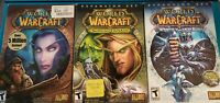 Lot of 3 World of Warcraft) Original PC Game w/ 2 Expansion Box Sets