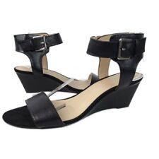 Nine West Womens Black Ankle Cuff Sandal Wedge Sz 9.5