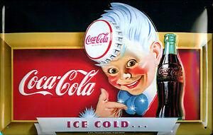 Coca Cola Ice Cold Boy Blechschild Schild 3D geprägt gewölbt Tin Sign 20 x 30 cm