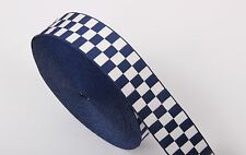 Assorted Cap Ribbon (White & Navy Blue) - Diced