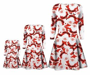 NEW BABIES GIRLS MOTHER DAUGHTER XMAS SANTA FATHER SWING DRESS 6MON TO 24/26