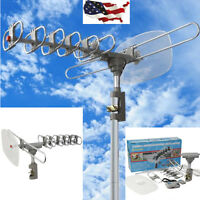 Outdoor 360 Rotation Digital Amplified Antenna TV DTV VHF HDTV UHF HD FM Rotor N