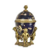 9973757-dss Scatola Coperchio Centro Tavola Porcellana Bronzo Stile Antico Putto