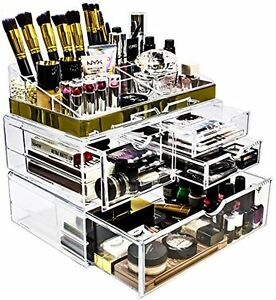 Sorbus Acrylic Cosmetic Makeup and Jewelry Storage Case Display with Gold Trim