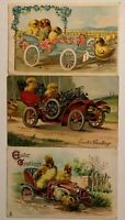 Lot of 3~Chicks & Ducks in Cars w. Flowers~Antique Easter Fantasy Postcards-s239