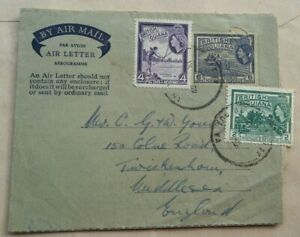 BRITISH GUIANA 1959 SIX CENTS IMPRINT AIR LETTER UPRATED 6 CENTS KITTY POSTMARK