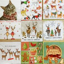 4 x Paper Napkins Christmas Winter Night for Decoupage Table and Crafting 88