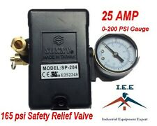 25 AMP Air Compressor Pressure Switch 4 Port 95 -125 PSI w/ Gauge pop off valve