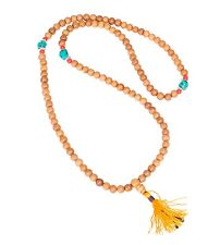 JAPAMALA con 81 Perle da legno TIBET NEPAL OM Turchese Yoga Mala
