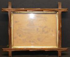 Antique Wood Backed Gilded Insert Eastlake Frame W/ Original Glass   9 x 7
