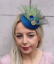 Teal Blue Gold Green Peacock Feather Pillbox Hat Fascinator Hair Clip Races  4517 182d552f6858