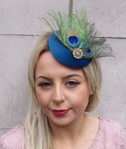 Teal Blue Gold Green Peacock Feather Pillbox Hat Fascinator Hair Clip Races 4517