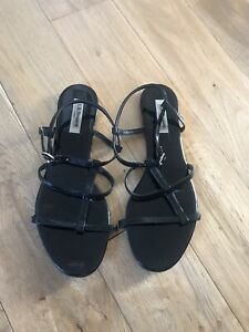 L.K. Bennett black leather patent gladiator sandals UK size 6