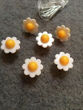 6 Little Daisy Flower Plastic Knobs For Small Drawers And Cabinets
