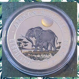 2011 Color/Colored Somalia Elephant 100 Sh. Proof 1 oz 999 Silver Coin w Capsule