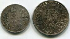 India, British 1/4 Rupee & 1/2 Rupee 1919 lotjun5653