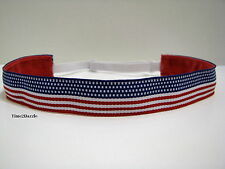 Red White Blue Flag Non slip Headband adjustable Sweaty Sports Hair Bands