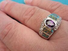 925 Sterling Silver Ring With Amethyst & Opal Inlay UK R, US 8.50   (rg0308)