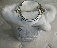 NEW COACH Ltd Ed White QUILTED NYLON FUR POPPY SKI SNOWBALL BUNNY BELLA TOTE BAG
