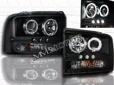 2005 2006 2007 FORD F250 F350 DUAL HALO LED CCFL BLACK PROJECTOR HEADLIGHTS