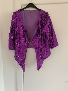 Ladies Purple  Sequin Short Waterfall Jacket Size Small