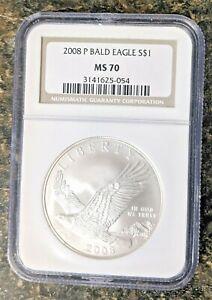 2008-P BALD EAGLE S$1 MS70 'TOP POP' NGC COIN