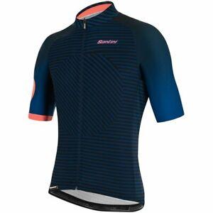 Santini Karma Mille Men's Short Sleeve Cycling Jersey in Blue/Black
