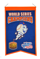 New York Mets 1969 1986 World Series Champions hangable banner Mr Met 14x22