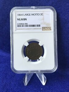 1864 2 CENT PIECE LARGE MOTTO *NGC VG8 VERY GOOD*
