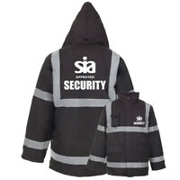 Printed Black SIA SECURITY Hi Vis Viz Parka Jacket Reflective Work Coat Staff