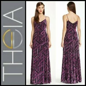 $995 THEIA Couture Purple Multi Silk Blend Flock Evening Dress Gown ~  6 M3020