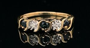 10K Yellow Gold, Sapphire & Diamond Stackable Size 7 Ring! 46