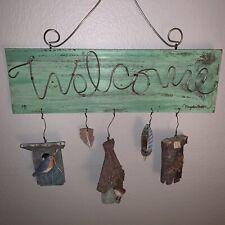 Welcome Hanging Sign Birds Houses Feathers Tree Nest Hallmark Marjolein Bastin