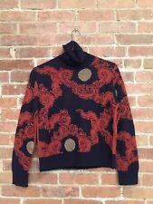 Dries Van Noten Women's Turtle Neck Sweater, Sz Small Belgium Chinese Theme