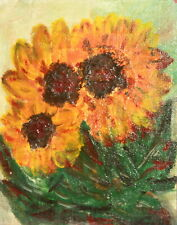 Vintage expressionist oil painting still life with sunflowers signed