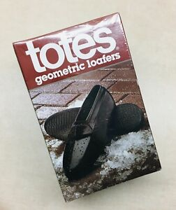 Totes Geometric Loafers Overshoes Shoe Covers Rubber Black Medium Men's 8-9.5