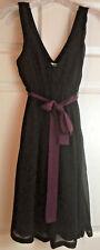 Womens American Eagle Outfitters Size 2 LBD Little Black Dress Purple Belt EUC