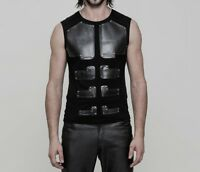 Punk Rave Men's CyberPunk Gothic Rock Cyborg Armor Black Sleeveless T-Shirt Top
