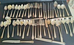 Old Silverplate Vintage Flatware Lot Silverware Forks, Spoons, Knives 50 Pcs