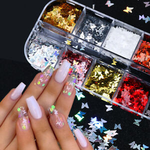 3D Butterfly Sequins Holographic Nail Art Flakes Glitter Foilration Sell