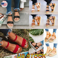 Women Platform Espadrilles Slingback Ankle Strap Beach Sandals Buckle Shoes Size
