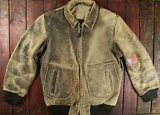 VTG 80s US NAVY TYPE G-2 LEATHER FLIGHT BOMBER JACKET MADE IN USA 42