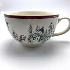 Williams Sonoma Snowman Cup Mug Large 21 ounces Christmas Snow White Red