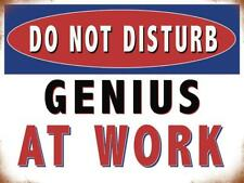 Genius at Work, Do Not Disturb, Funny Warning Small Metal Steel Wall Sign