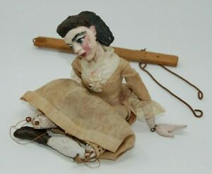 Antique Wooden Puppet / Marionette Hand Carved Rare Old Doll