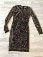 Just Cavalli Dress Gold Leopard Print Cavalli Cocktail Shift Dress UK12 M 44